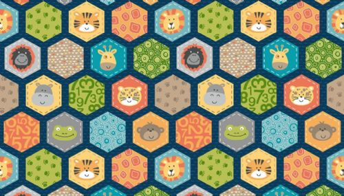 Jungle Hexagons Blue